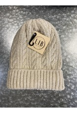HAT247 BEIGE CABLE KNIT CHENILLE BEANIE