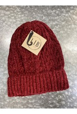HAT249 BURGUNDY CABLE KNIT CHENILLE BEANIE