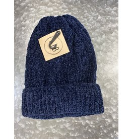 HAT250 NAVY CABLE KNIT CHENILLE BEANIE