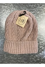 HAT251 PINK CABLE KNIT CHENILLE BEANIE