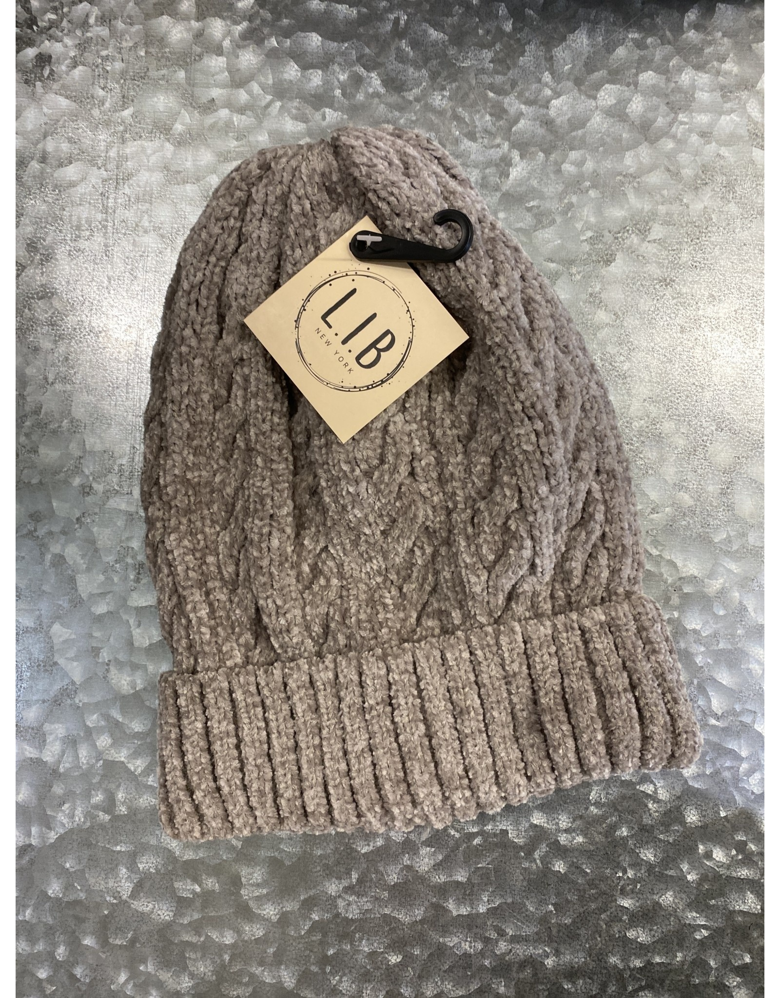 HAT252 TAUPE CABLE KNIT CHENILLE BEANIE