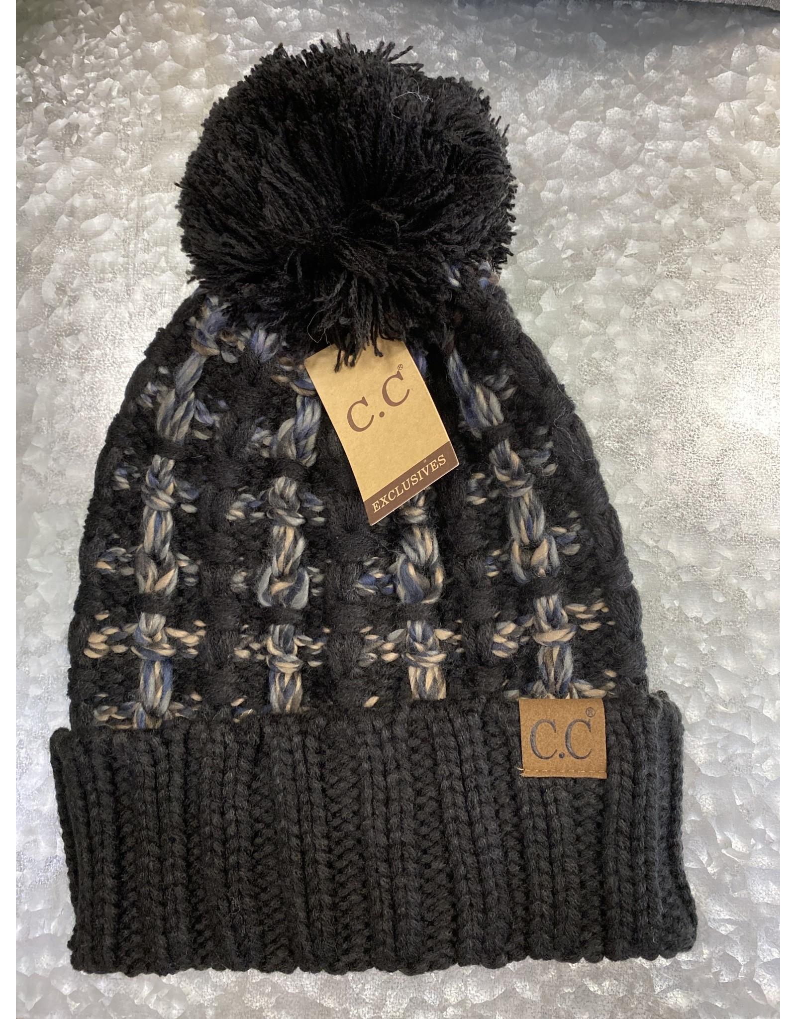 HAT268 BLACK OMBRE POM