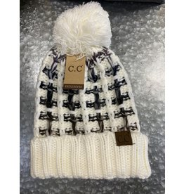 HAT269 IVORY OMBRE POM