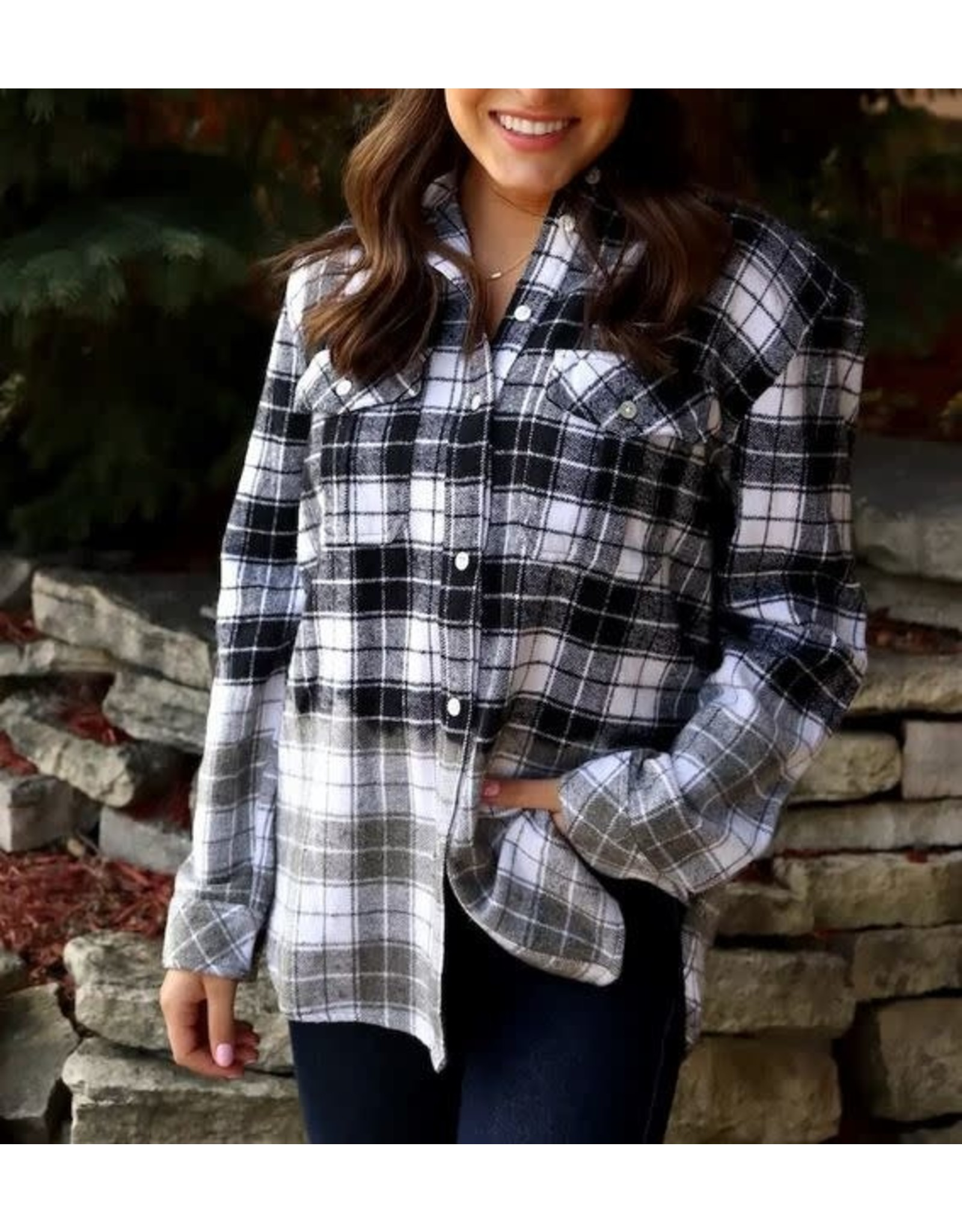 DIPPED PLAID FLANNEL -