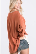 FIRST LOVE RUST LEOPARD COLORBLOCK DOLMAN LONG SLEEVE