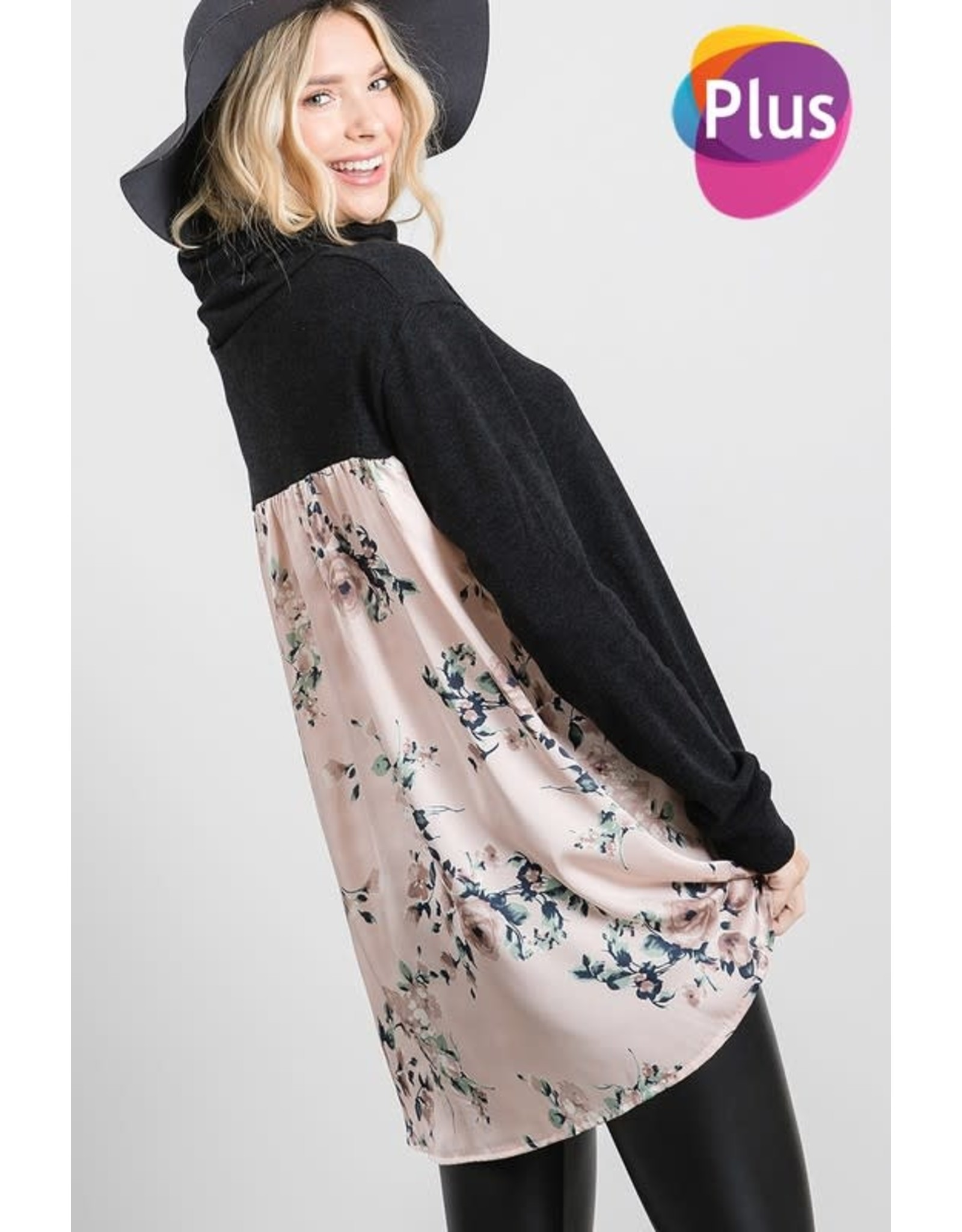 GEEGEE BLACK SOLID TURTLE NECK WITH FLORAL BACK PANEL