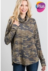 GEEGEE BRUSHED CAMO PRINT TURTLE NECK TOP
