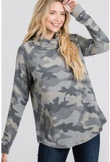 GEEGEE BRUSHED GREY CAMO PRINT TURTLE NECK TOP