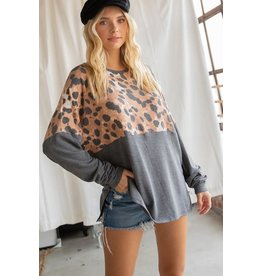 GEEGEE CHARCOAL SOLID AND PRINT COLOR BLOCK LONG SLEEVE WITH SIDE SLIT