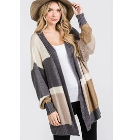 GEEGEE CHARCOAL TAUPE COMBO COLOR BLOCK OPEN FRONT CARDI