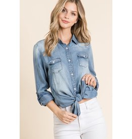 GEEGEE DENIM WASHED LONG BUTTONED COLLAR SHIRT