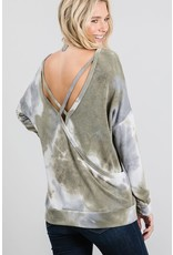 GEEGEE OLIVE TIE DYE CROSS OPEN BACK DETAIL TOP