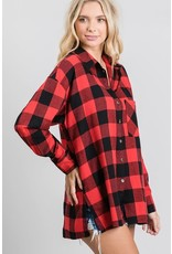 GEEGEE RED BLACK PLAID FLANNEL SHIRT
