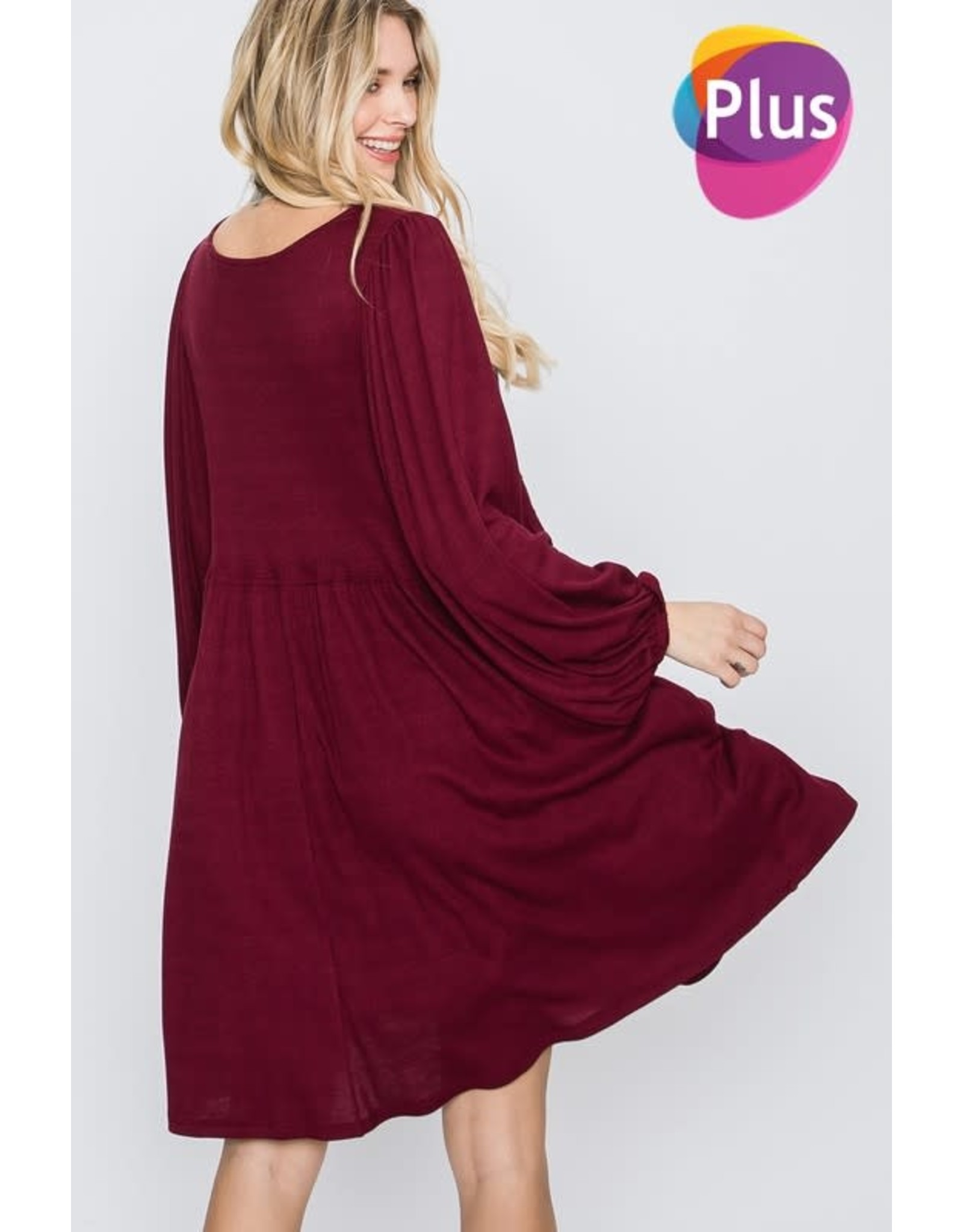 GEEGEE WINE THERMO BABYDOLL BUBBLE SLEEVE DRESS