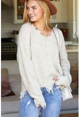 NINEXIS OATMEAL DISTRESSED LONG SLEEVE V NECK KNIT SWEATER
