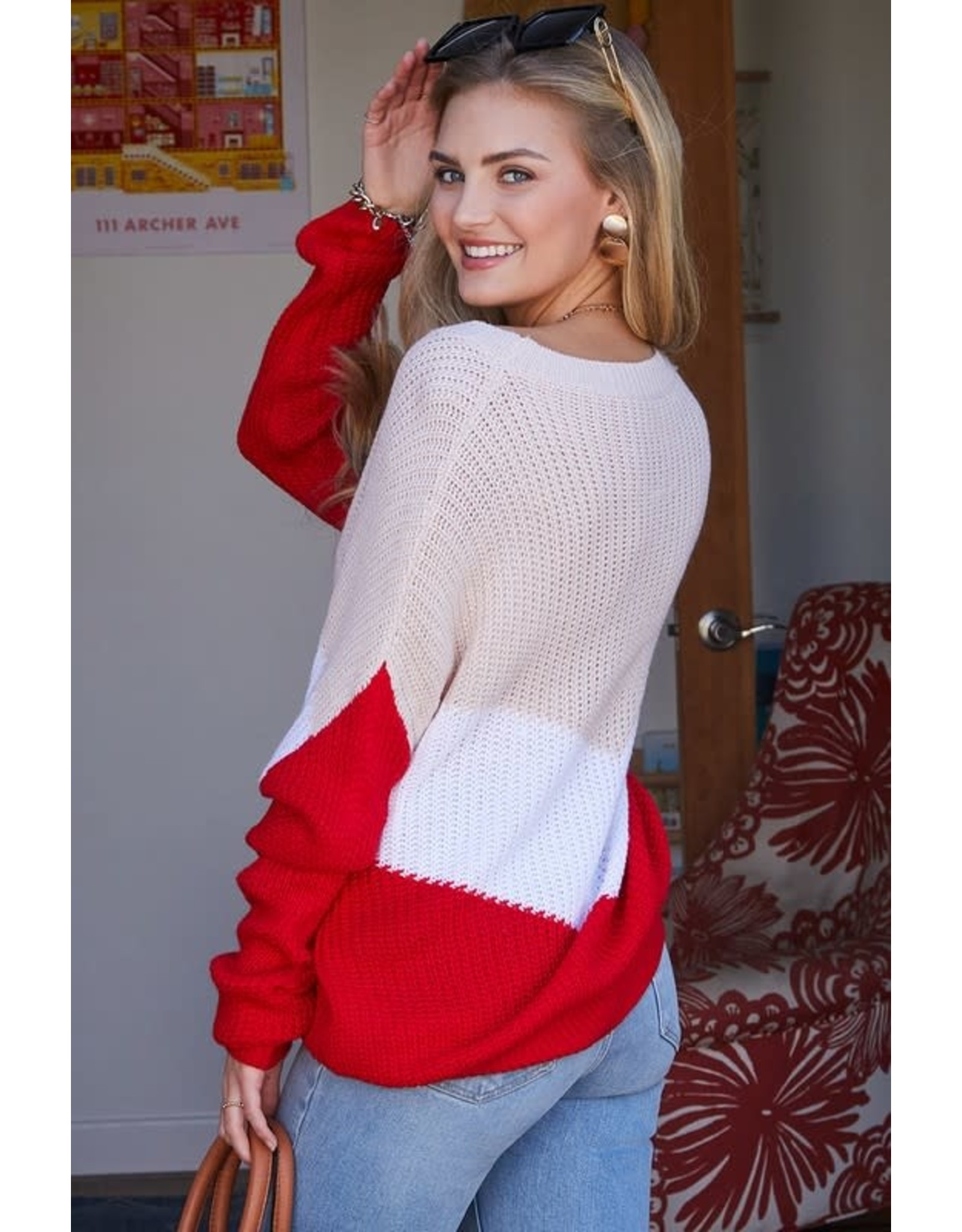 NINEXIS TAN RED COLOR BLOCKROUND NECK KNIT SWEATER