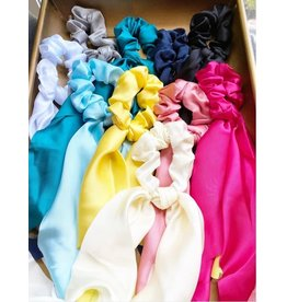 SATIN SOLID HAIR SCARF/SCRUNCHY -