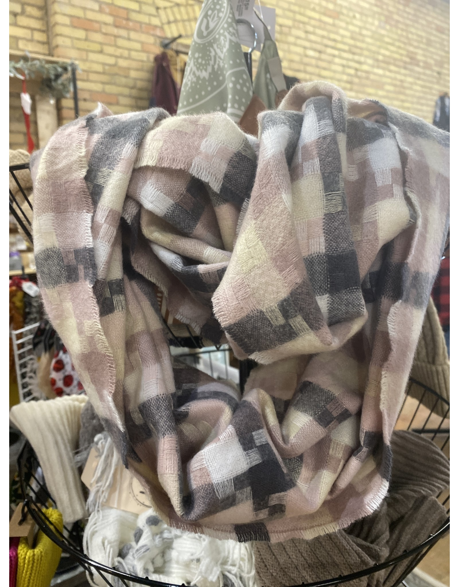 SCARF 1891 PINK GREY HOUNDSTOOTH INFINITY