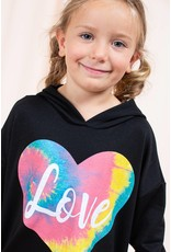GIRLS LOVE HEART PRINT SOLID BLACK HOODIE
