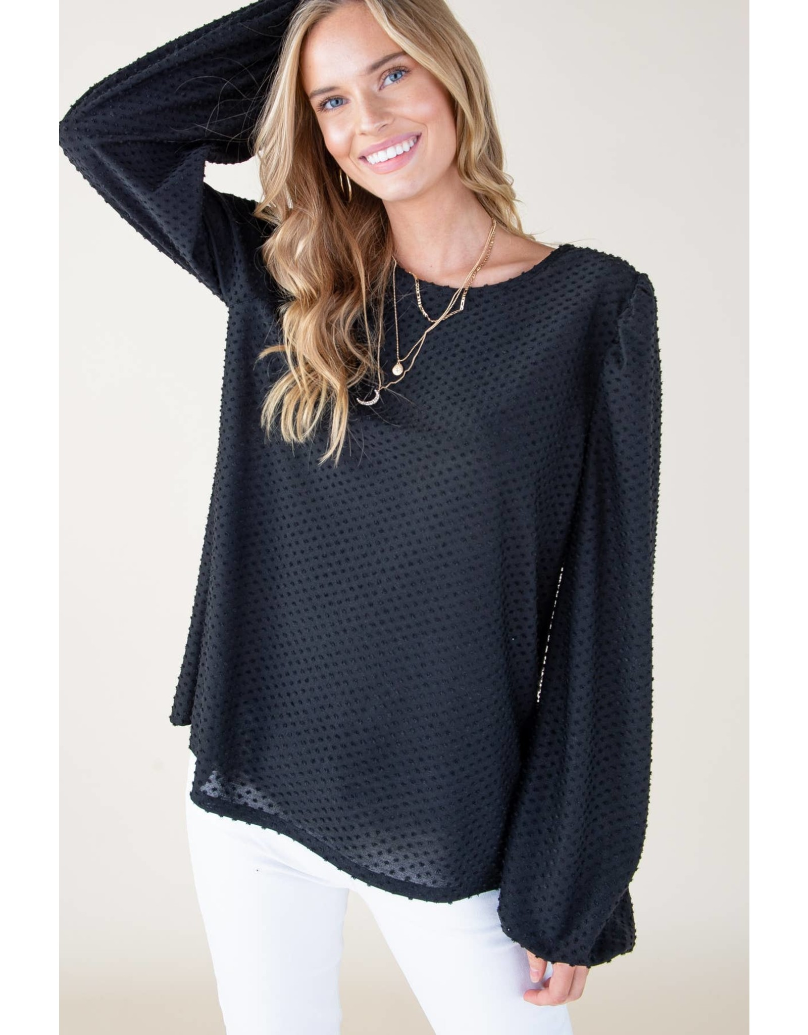 BLACK SWISS DOT LONG SLEEVE BLOUSE