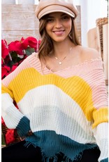 MAINSTRIP DISTRESSED RIBBED MULTI KNIT SWEATER