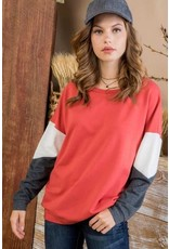 MAINSTRIP CORAL LONG SLEEVE COLOR BLOCK FRENCH TERRY TOP