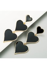 KOKO & LOLA BLACK TRIPLE HEART ENAMEL DROP EARRINGS