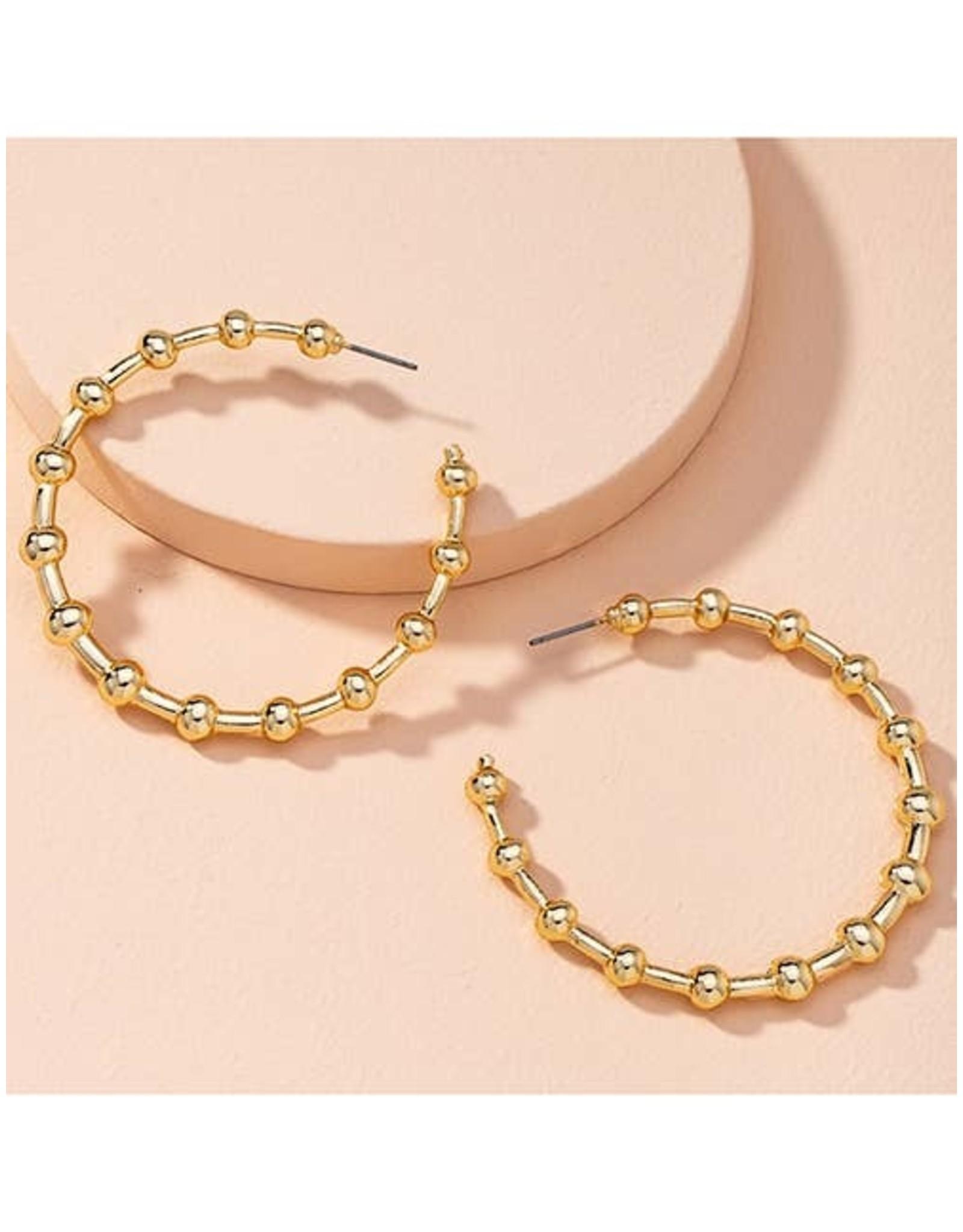 KOKO & LOLA GOLD BEADED HOOP EARRINGS