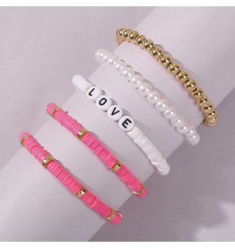 KOKO & LOLA PINK & WHITE CLAY RESIN BRACELET SET