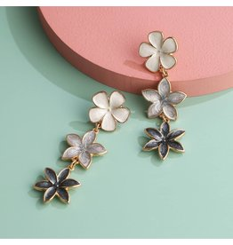 KOKO & LOLA MULTI BLACK/GREY ENAMEL TRIPLE FLOWER DROP EARRING