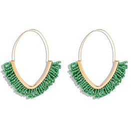 KOKO & LOLA GREEN & GOLD BOHO BEADED HOOP EARRING