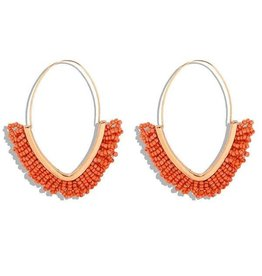 KOKO & LOLA ORANGE & GOLD BOHO BEADED HOOP EARRING