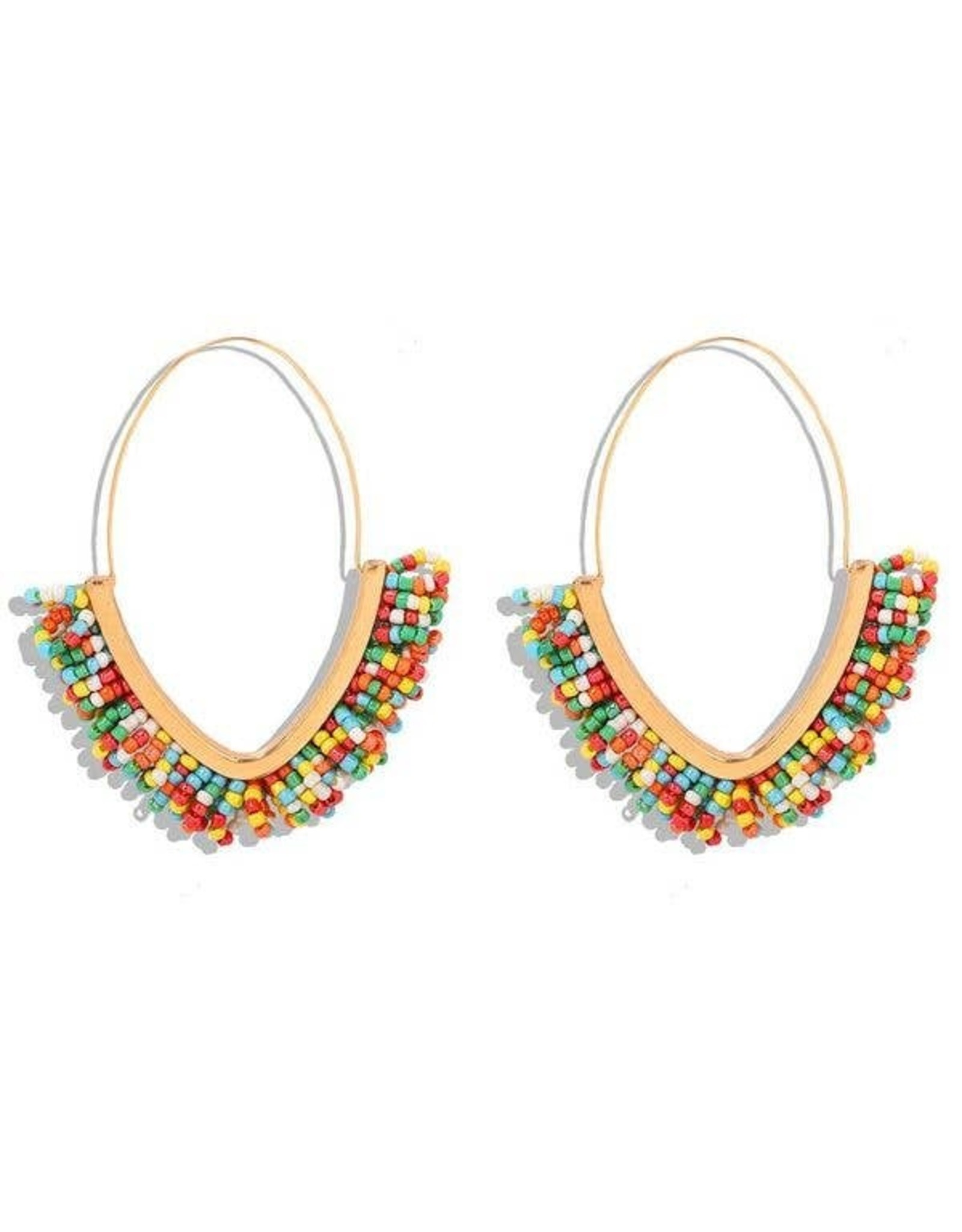 KOKO & LOLA RAINBOW & GOLD BOHO BEADED HOOP EARRING