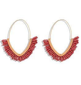 KOKO & LOLA RED & GOLD BOHO BEADED HOOP EARRING