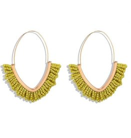 KOKO & LOLA YELLOW & GOLD BOHO BEADED HOOP EARRING