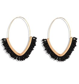 KOKO & LOLA BLACK & GOLD BOHO BEADED HOOP EARRING