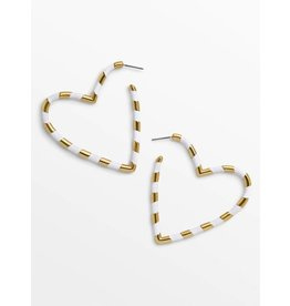 KOKO & LOLA WHITE & GOLD OPEN HEART EARRINGS