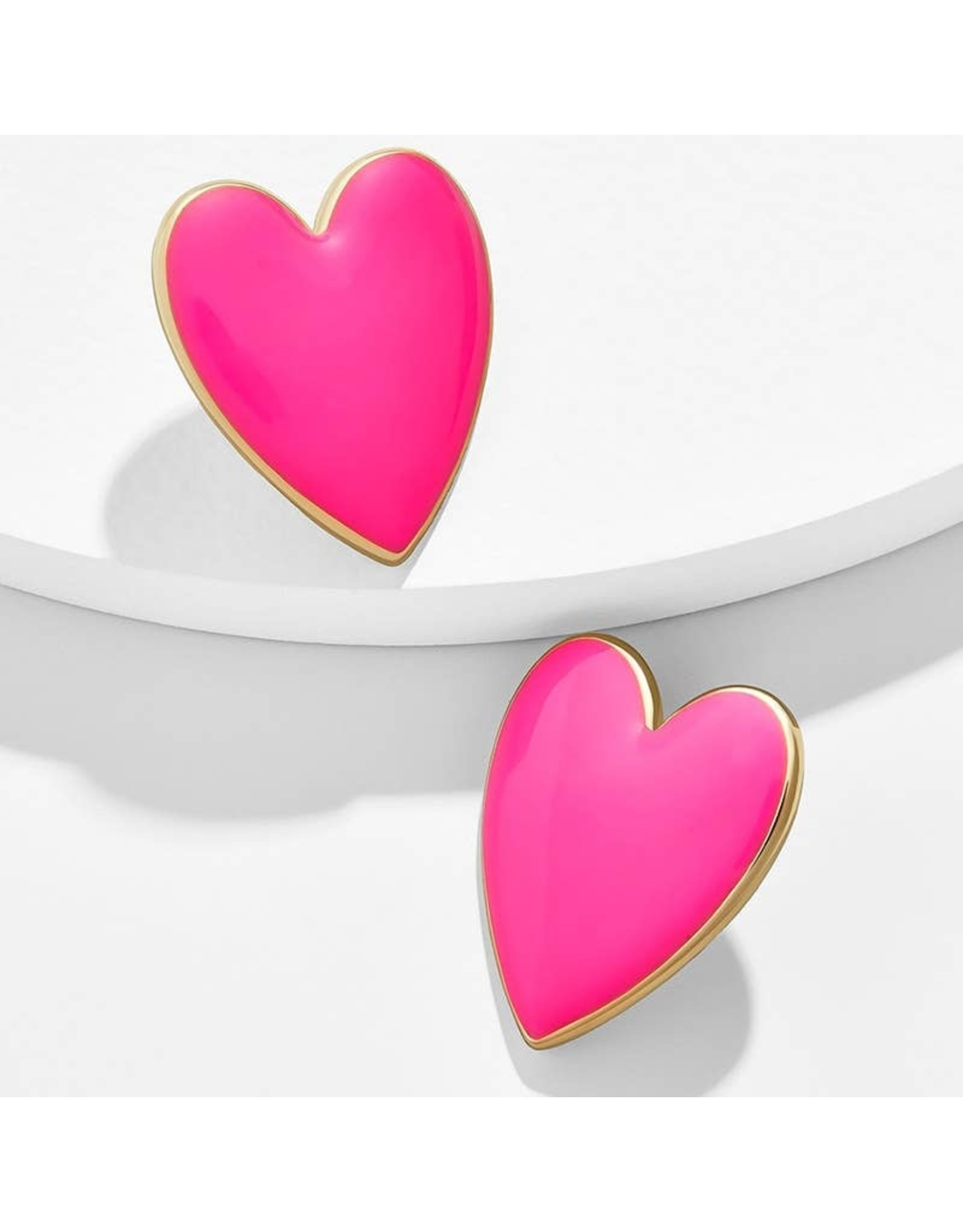 KOKO & LOLA HOT PINK & GOLD ACCENT HEART EARRINGS