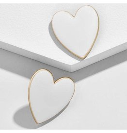 KOKO & LOLA WHITE & GOLD ACCENT HEART EARRINGS