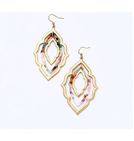 KOKO & LOLA GOLD MARBLE TRIPLE GEO EARRINGS