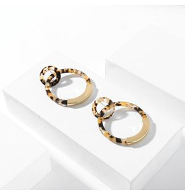 KOKO & LOLA LEOPARD MARBLE DOUBLE HOOP RESIN EARRINGS
