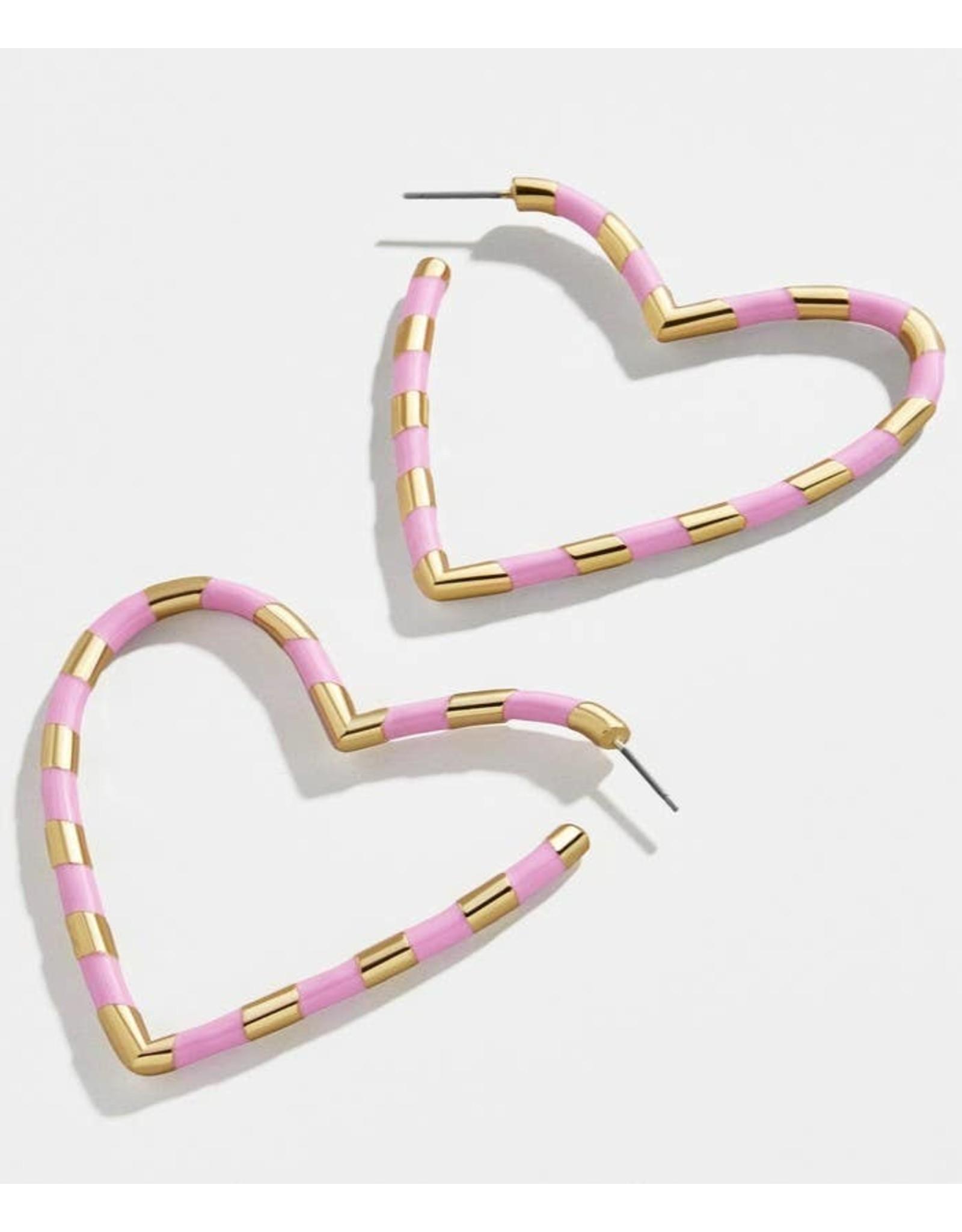 KOKO & LOLA PINK & GOLD OPEN HEART EARRINGS