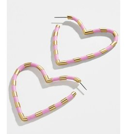 KOKO & LOLA PINK & GOLD OPEN HEART EARRINGS