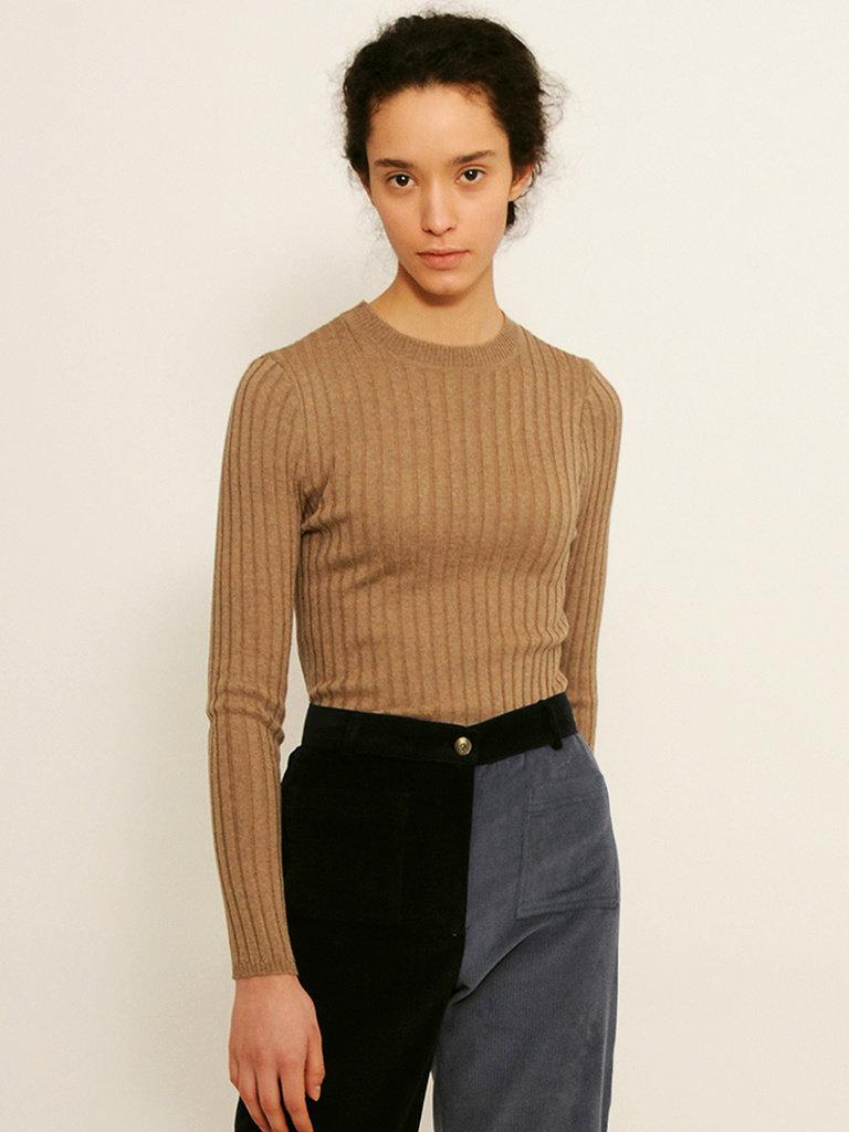 Valley Ribbed Merino Wool Sweater Taupe Betina Lou