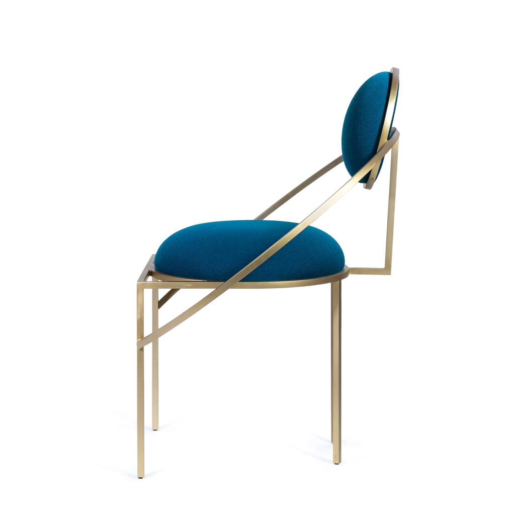 Bohinc Studio Orbit Chair in Steel and Wool, Blue