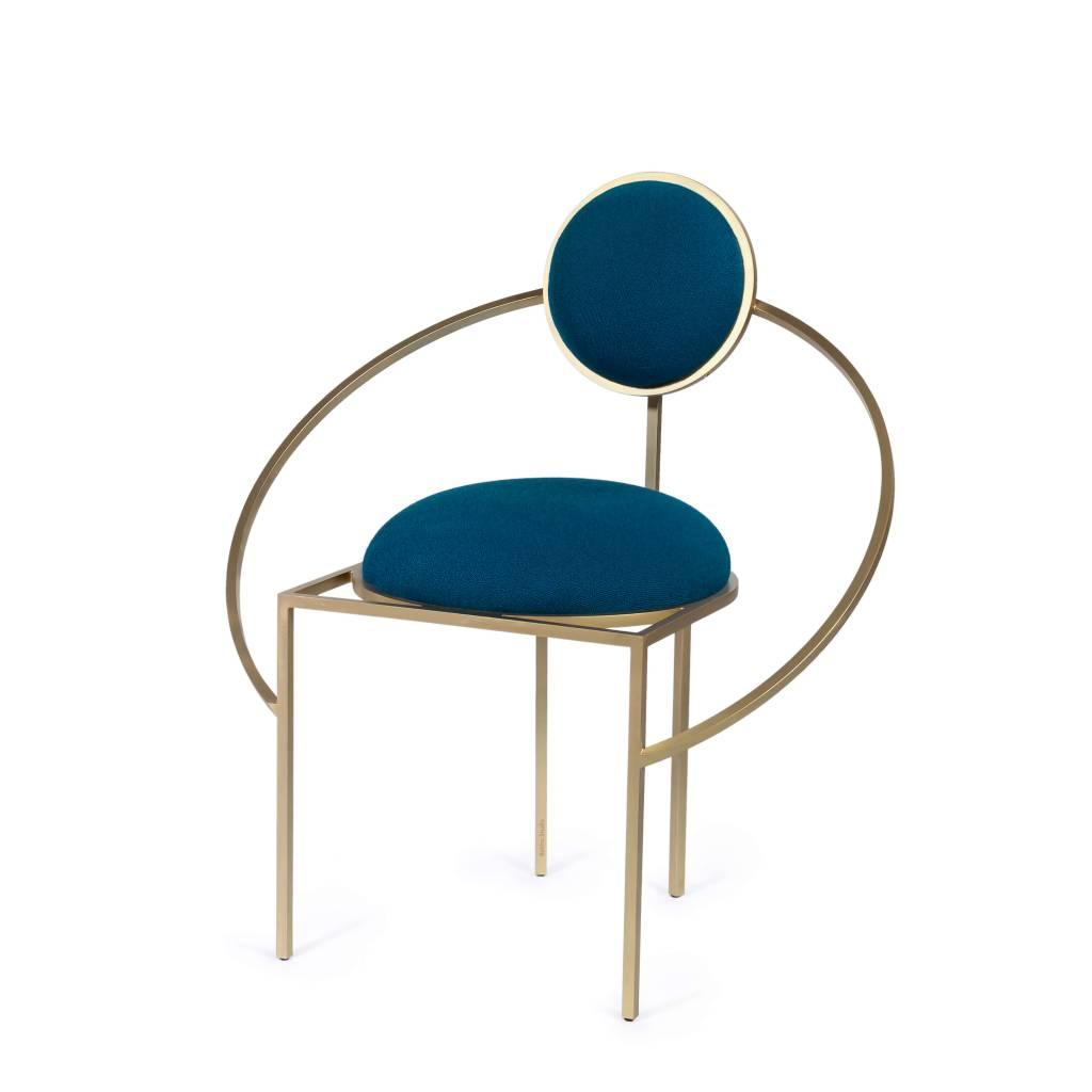 Bohinc Studio BOHINC ORBIT CHAIR STEEL AND WOOL BLUE AND BRASS