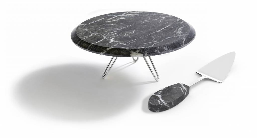 Anna by Rablabs Torta Cake Stand in Carnico Marble, Silver