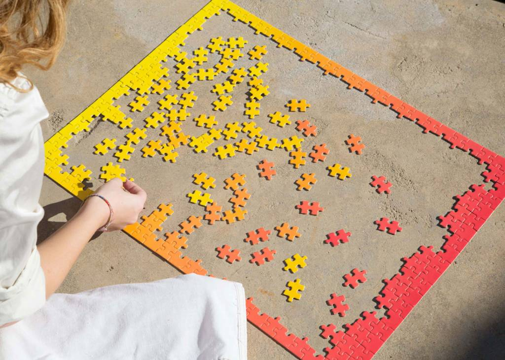 Areaware Gradient Puzzle Small, Red/Yellow