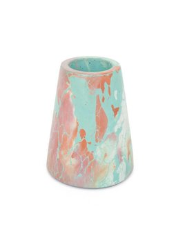 Concrete Cat Vesta Vase | Oracle - Mint + Orange + Pink + Ivory