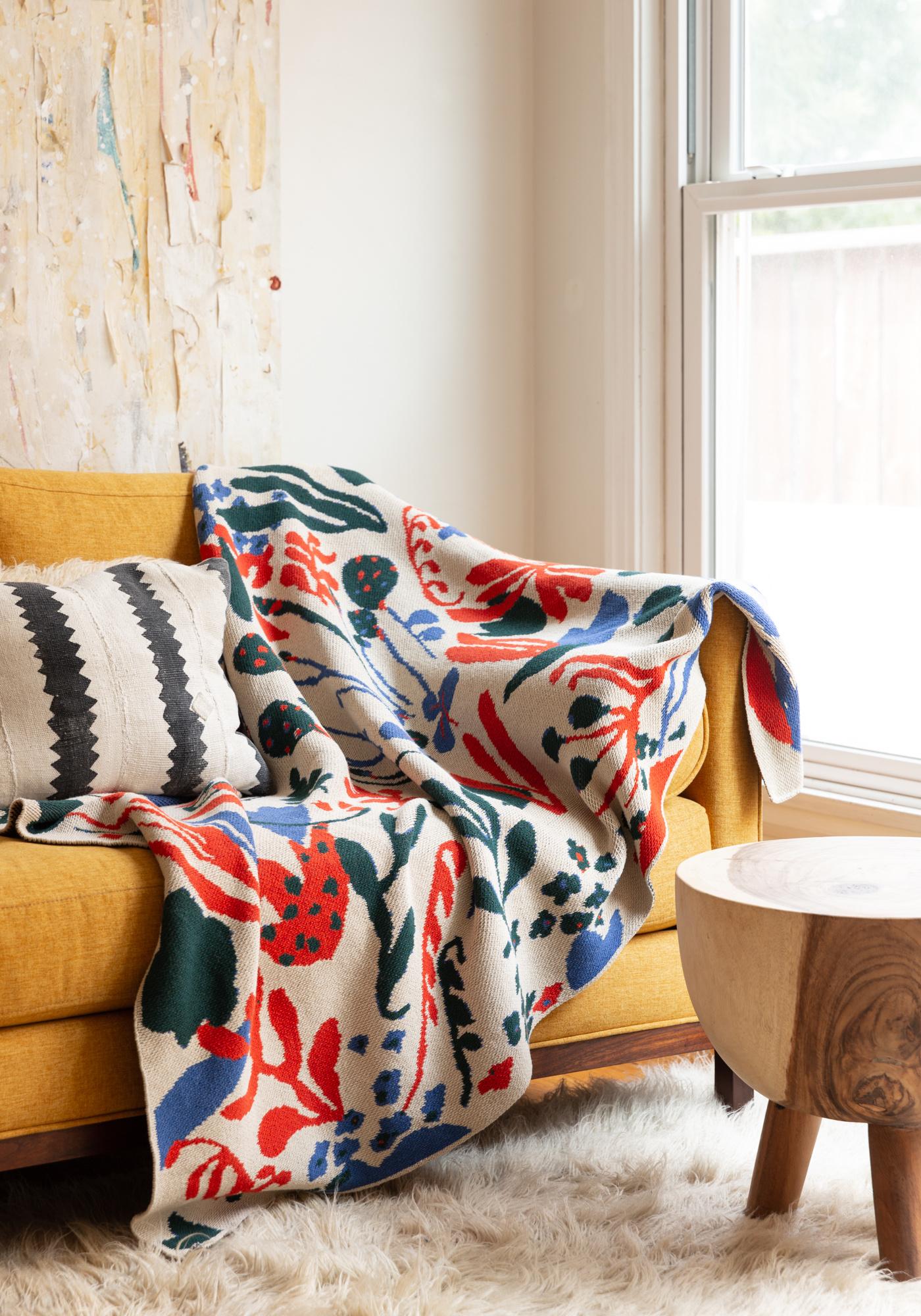 Hillery Sproatt Poppies & Lotus Flax Blanket